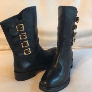 Napoleoni black leather boots
